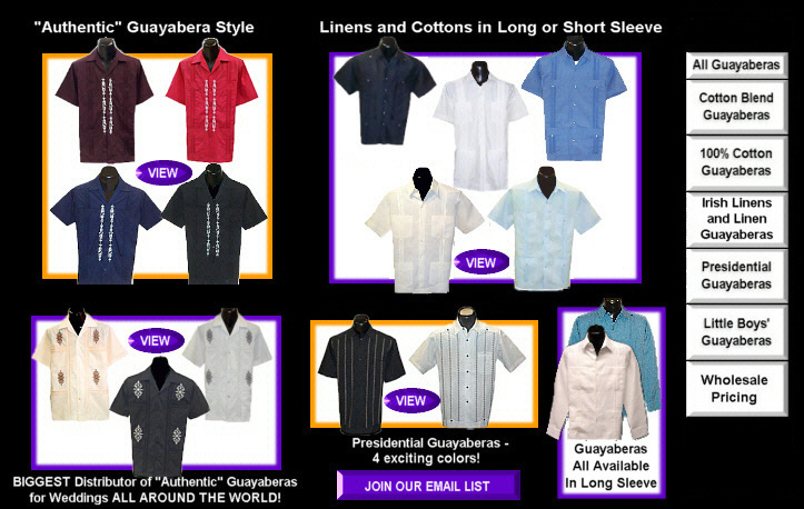 Authentic made in Mexico mens shirts four pocket Guayabera shirts.  Shop for men with Guayabera World, find mens guayabera shirts for weddings, bartending, bartender shirts, and Mexican restaurant waiters shirts.  Buy wholesale guayabera shirts.  authentic guayabera shirt,authentic guayaberas,cuba shirt, cuban shirt